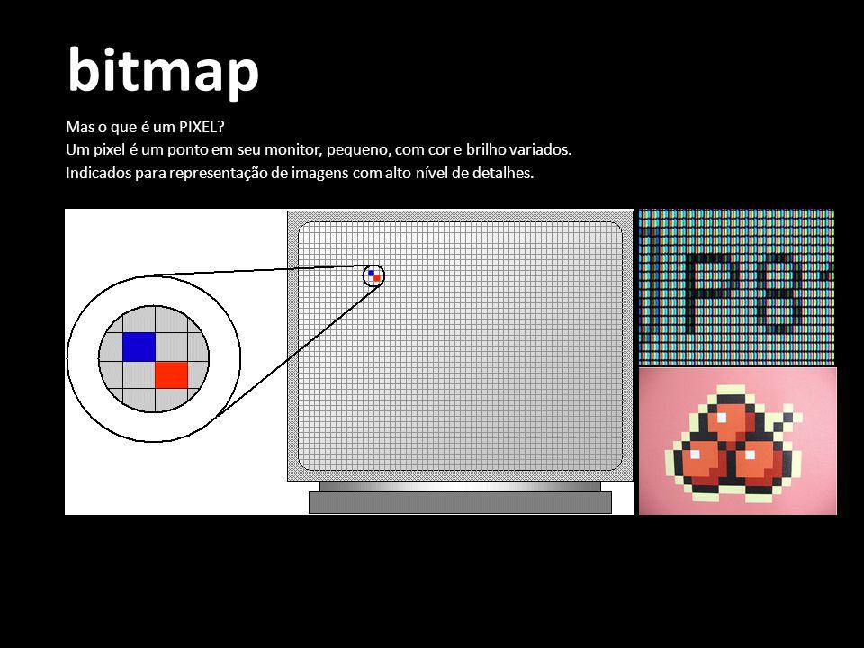 bitmap Mas o que é um PIXEL? Um pixel é um ponto em seu monitor, pequeno, com cor e brilho variados. Indicados para representação de imagens com alto