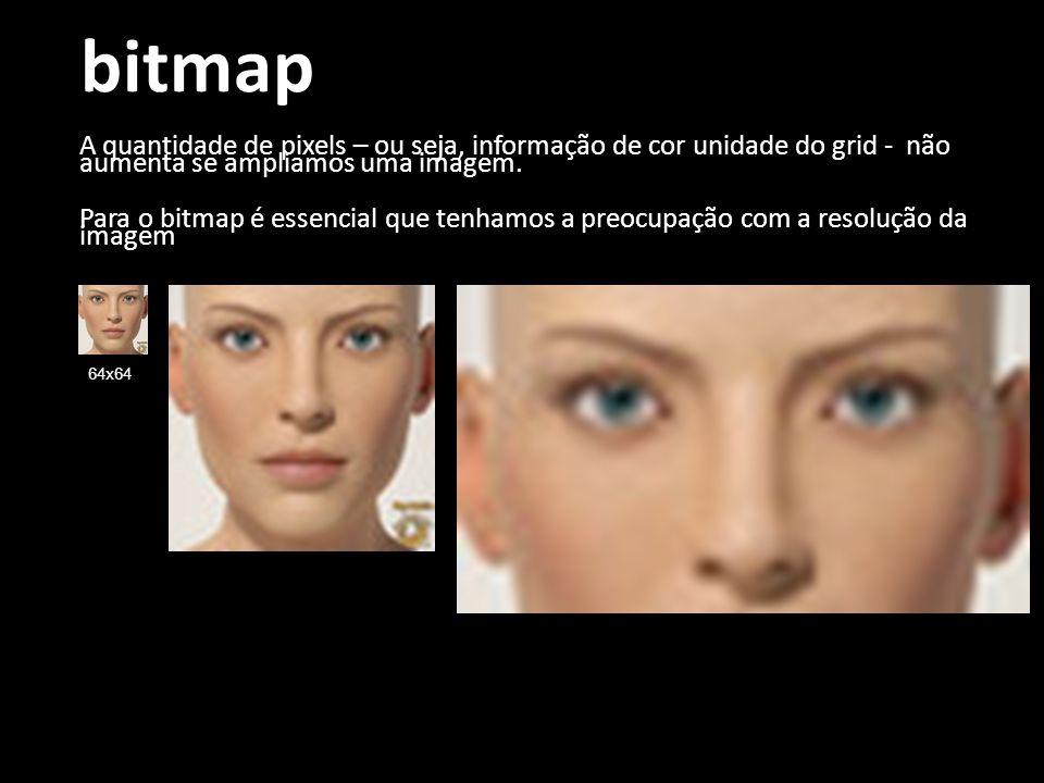 bitmap A quantidade de pixels – ou seja, informação de cor unidade do grid - não aumenta se ampliamos uma imagem. Para o bitmap é essencial que tenham