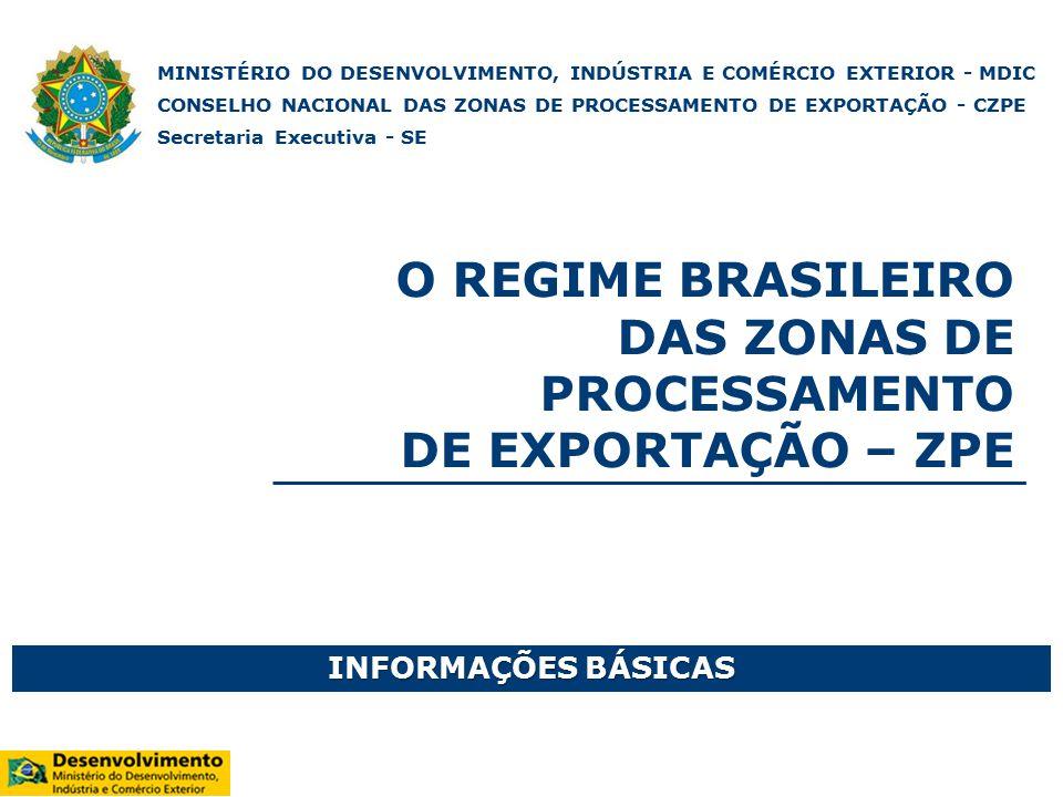 Conselho Nacional das Zonas de Processamento de Exportação - CZPE Membros: MDIC (Presidente) CC/PRMF MP MI MMA Competências Principais: Estabelecer os procedimentos relativos à apresentação das propostas de criação de ZPE e dos projetos industriais.