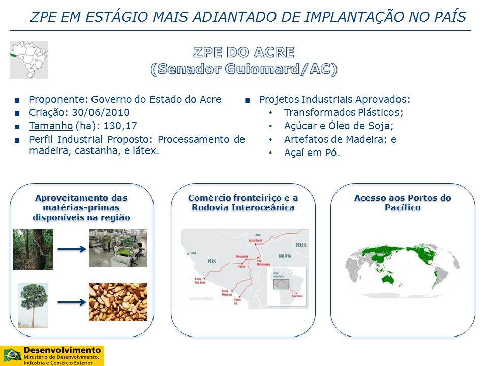 ■ Proponente: Governo do Estado do Acre ■ Criação: 30/06/2010 ■ Tamanho (ha): 130,17 ■ Perfil Industrial Proposto: Processamento de madeira, castanha, e látex.