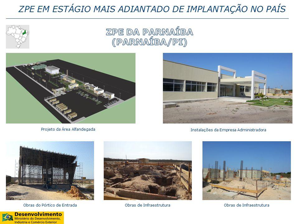 ZPE EM ESTÁGIO MAIS ADIANTADO DE IMPLANTAÇÃO NO PAÍS Obras do Pórtico de Entrada Projeto da Área Alfandegada Instalações da Empresa Administradora Obras de Infraestrutura