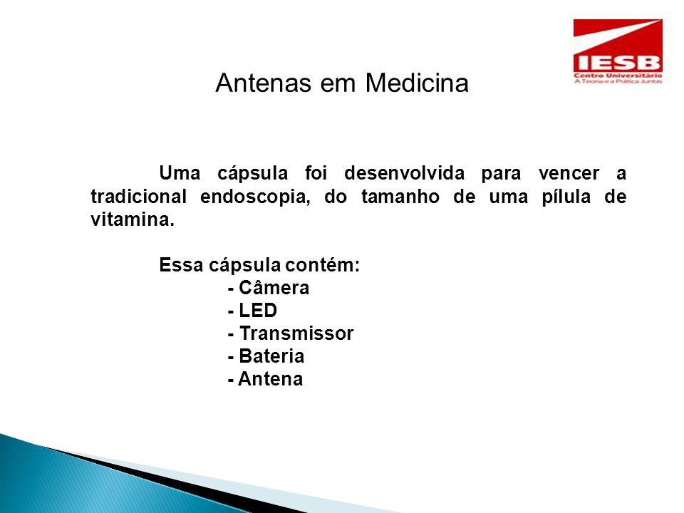 Antenas em Medicina Uma cápsula foi desenvolvida para vencer a tradicional endoscopia, do tamanho de uma pílula de vitamina.