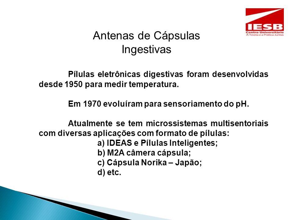 Antenas de Cápsulas Ingestivas Pílulas eletrônicas digestivas foram desenvolvidas desde 1950 para medir temperatura.