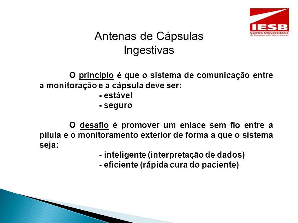 Antenas de Cápsulas Ingestivas O princípio é que o sistema de comunicação entre a monitoração e a cápsula deve ser: - estável - seguro O desafio é promover um enlace sem fio entre a pílula e o monitoramento exterior de forma a que o sistema seja: - inteligente (interpretação de dados) - eficiente (rápida cura do paciente)