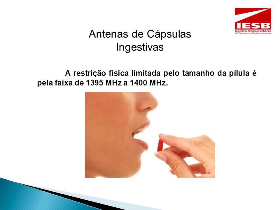 Antenas de Cápsulas Ingestivas A restrição física limitada pelo tamanho da pílula é pela faixa de 1395 MHz a 1400 MHz.