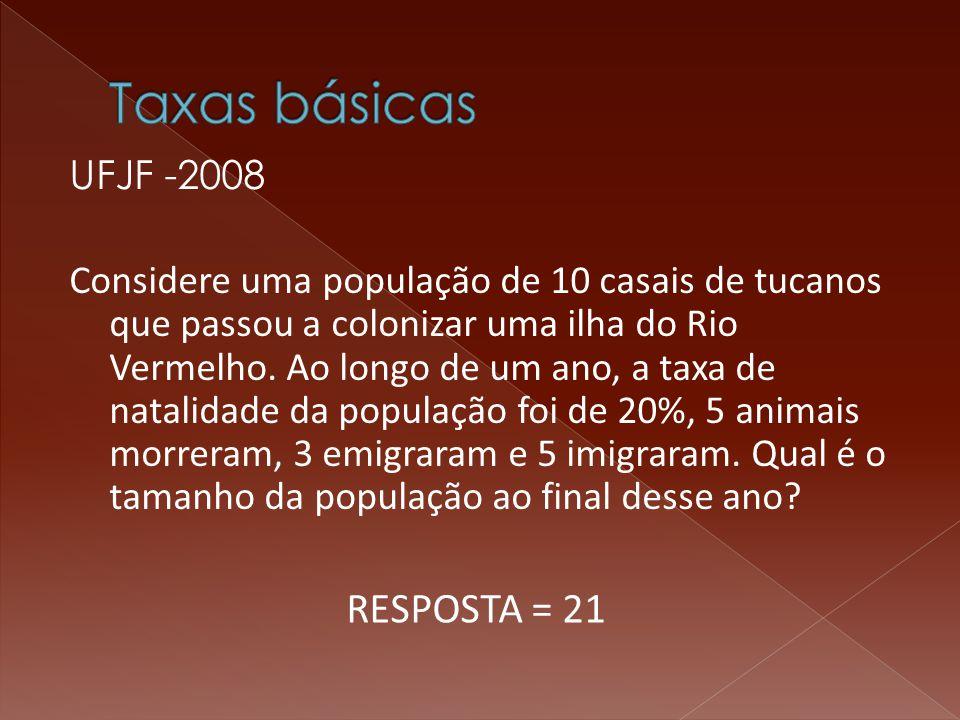 UFJF -2008 Considere uma população de 10 casais de tucanos que passou a colonizar uma ilha do Rio Vermelho.