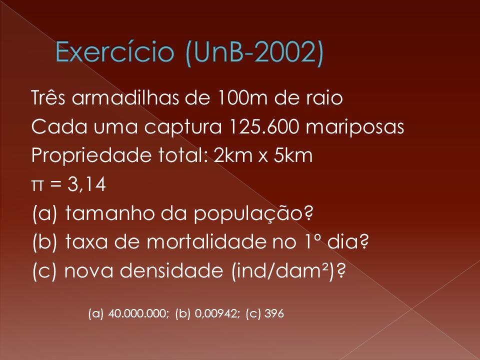 Três armadilhas de 100m de raio Cada uma captura 125.600 mariposas Propriedade total: 2km x 5km π = 3,14 (a) tamanho da população.