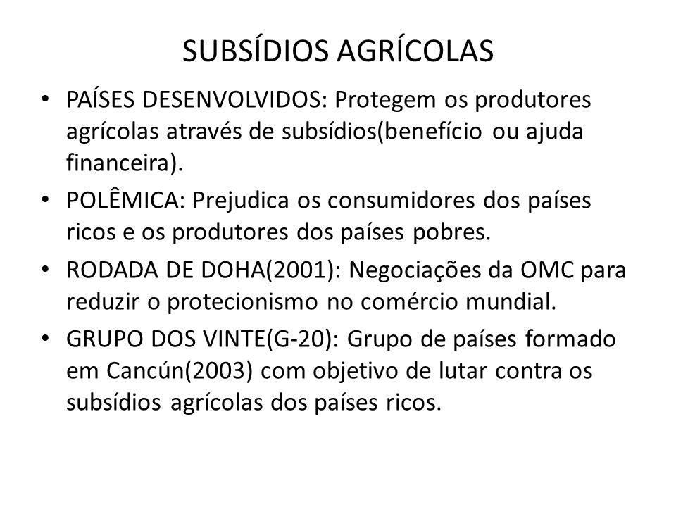 SUBSÍDIOS AGRÍCOLAS PAÍSES DESENVOLVIDOS: Protegem os produtores agrícolas através de subsídios(benefício ou ajuda financeira). POLÊMICA: Prejudica os