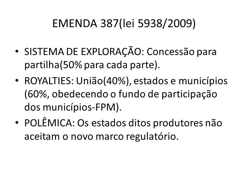 EMENDA 387(lei 5938/2009) SISTEMA DE EXPLORAÇÃO: Concessão para partilha(50% para cada parte). ROYALTIES: União(40%), estados e municípios (60%, obede