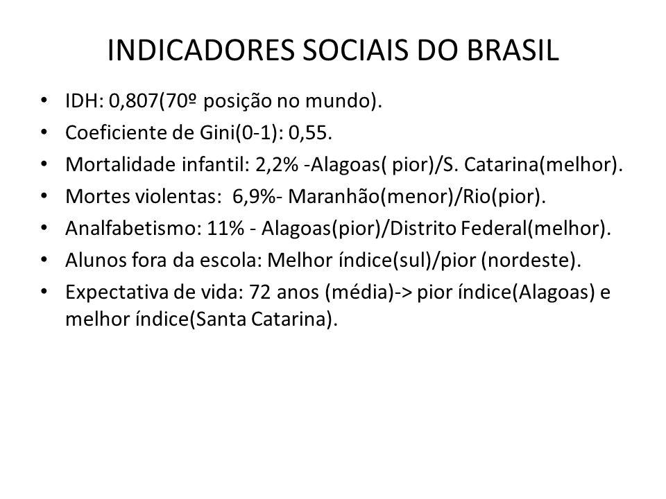 INDICADORES SOCIAIS DO BRASIL IDH: 0,807(70º posição no mundo). Coeficiente de Gini(0-1): 0,55. Mortalidade infantil: 2,2% -Alagoas( pior)/S. Catarina