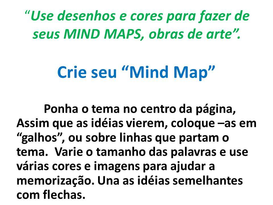 """""""Use desenhos e cores para fazer de seus MIND MAPS, obras de arte"""". Crie seu """"Mind Map"""" Ponha o tema no centro da página, Assim que as idéias vierem,"""