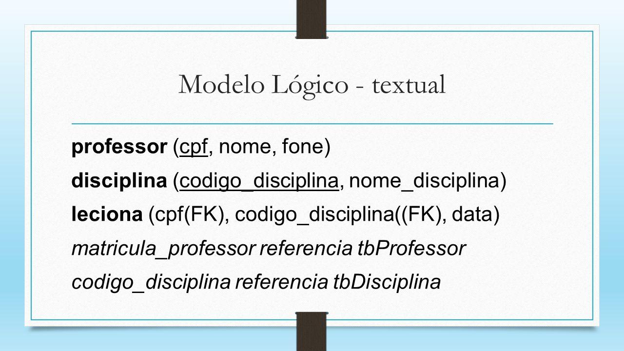 Modelo Lógico - textual professor (cpf, nome, fone) disciplina (codigo_disciplina, nome_disciplina) leciona (cpf(FK), codigo_disciplina((FK), data) ma