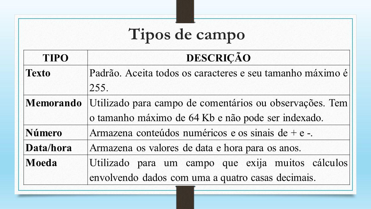 Tipos de campo TIPODESCRIÇÃO Numeração Automática Um número seqüencial (incrementado em 1) ou número aleatório atribuído pelo Access, sempre que um novo registro é adicionado a uma tabela.