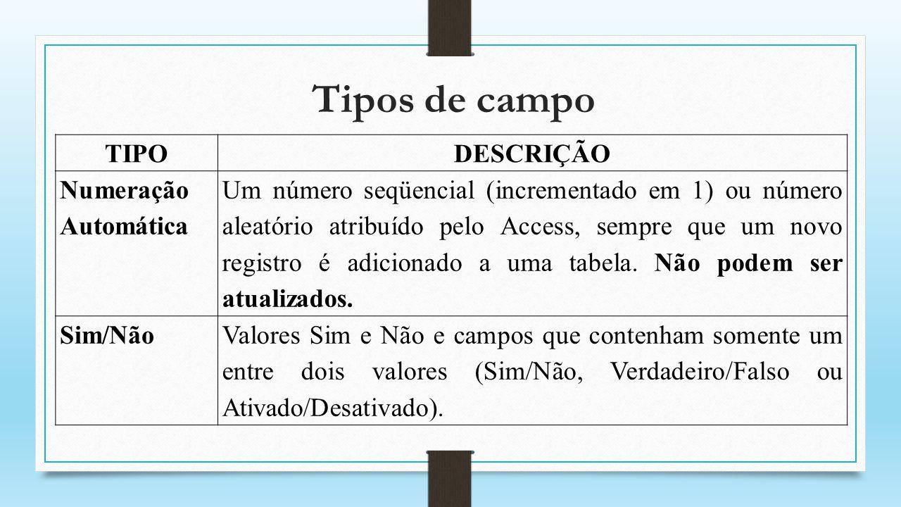 Tipos de campo TIPODESCRIÇÃO Objeto OLE Armazena objetos criados por outros aplicativos (imagem, planilha do Excel, sons etc.) e não pode ser indexado.