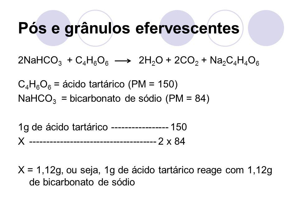 2NaHCO 3 + C 4 H 6 O 6 2H 2 O + 2CO 2 + Na 2 C 4 H 4 O 6 C 4 H 6 O 6 = ácido tartárico (PM = 150) NaHCO 3 = bicarbonato de sódio (PM = 84) 1g de ácido tartárico ----------------- 150 X-------------------------------------- 2 x 84 X = 1,12g, ou seja, 1g de ácido tartárico reage com 1,12g de bicarbonato de sódio Pós e grânulos efervescentes