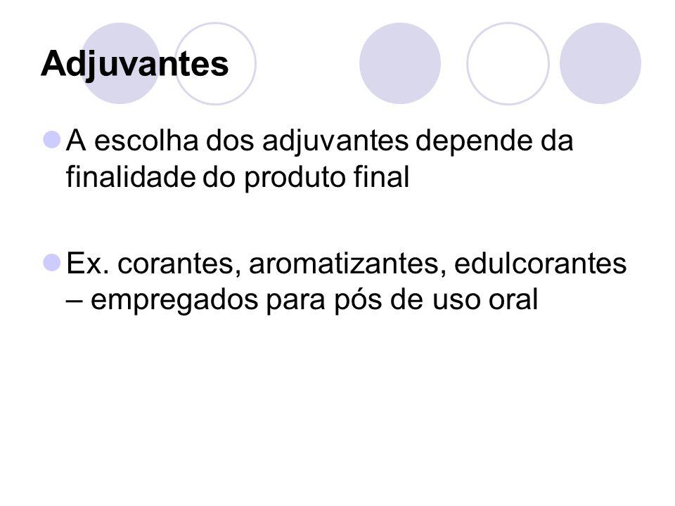 Adjuvantes A escolha dos adjuvantes depende da finalidade do produto final Ex.