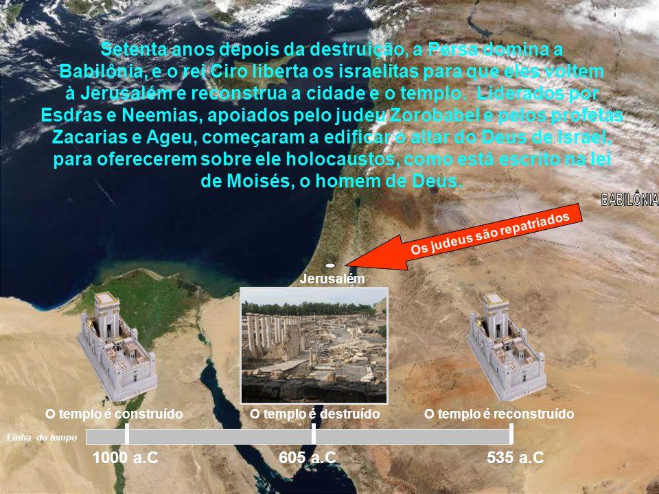 Jerusalém Porém, no ano 605 a.C., (época de Daniel), devido Israel ter abandonado o Senhor e adorar outros deuses, o Senhor os entregou nas mãos do re