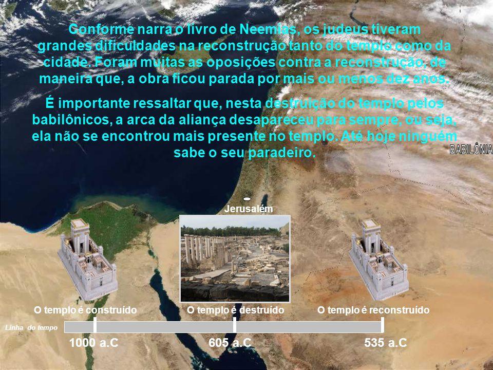 Jerusalém Setenta anos depois da destruição, a Persa domina a Babilônia, e o rei Ciro liberta os israelitas para que eles voltem à Jerusalém e reconst