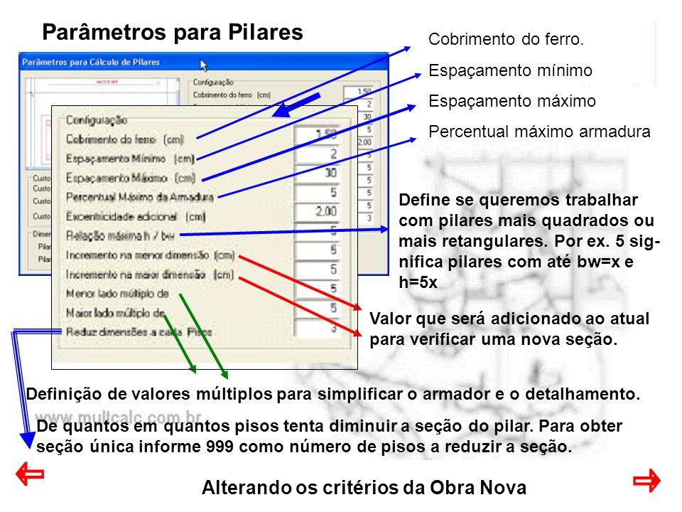 Alterando os critérios da Obra Nova Parâmetros para Pilares Cobrimento do ferro.