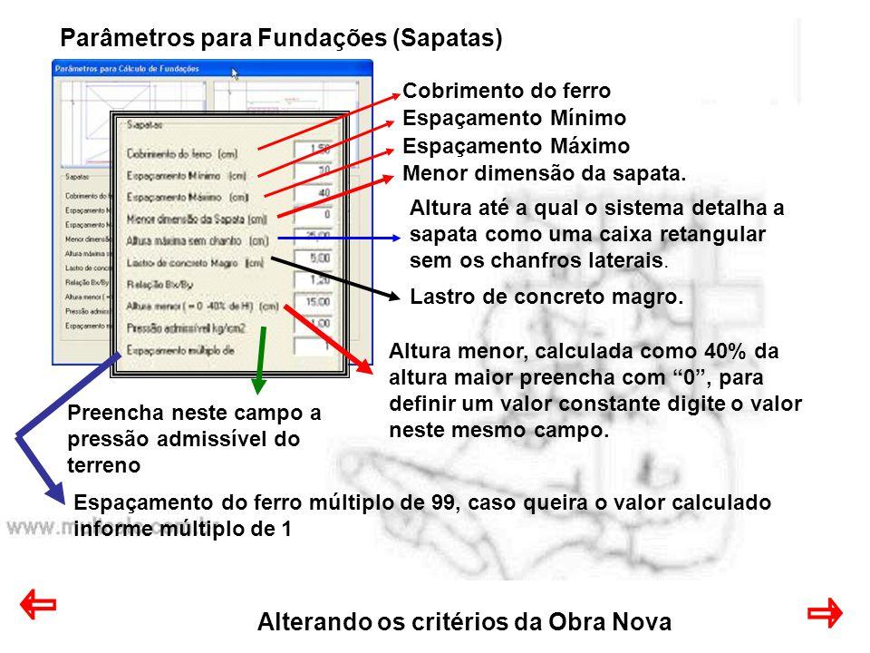 Alterando os critérios da Obra Nova Parâmetros para Fundações (Sapatas) Cobrimento do ferro Espaçamento Mínimo Espaçamento Máximo Menor dimensão da sapata.