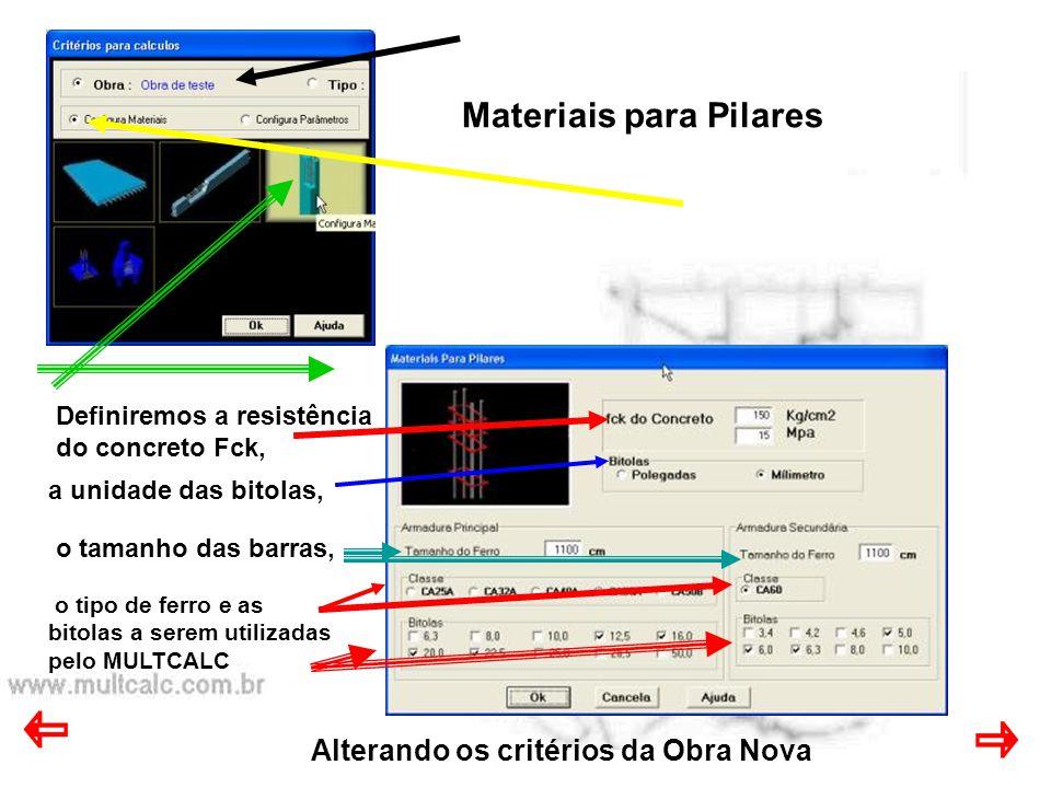 Alterando os critérios da Obra Nova Materiais para Pilares o tipo de ferro e as bitolas a serem utilizadas pelo MULTCALC Definiremos a resistência do concreto Fck, a unidade das bitolas, o tamanho das barras,
