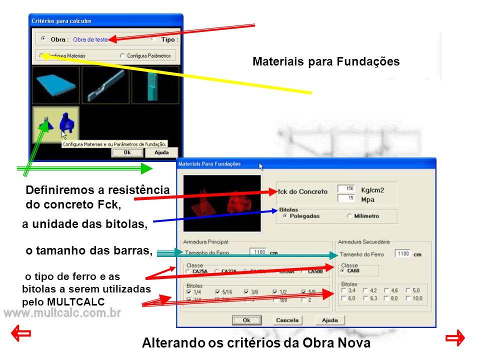 Alterando os critérios da Obra Nova Parâmetros de LAJES Cobrimento do ferro Espaçamento mínimo Espaçamento máximo Escala para desenho