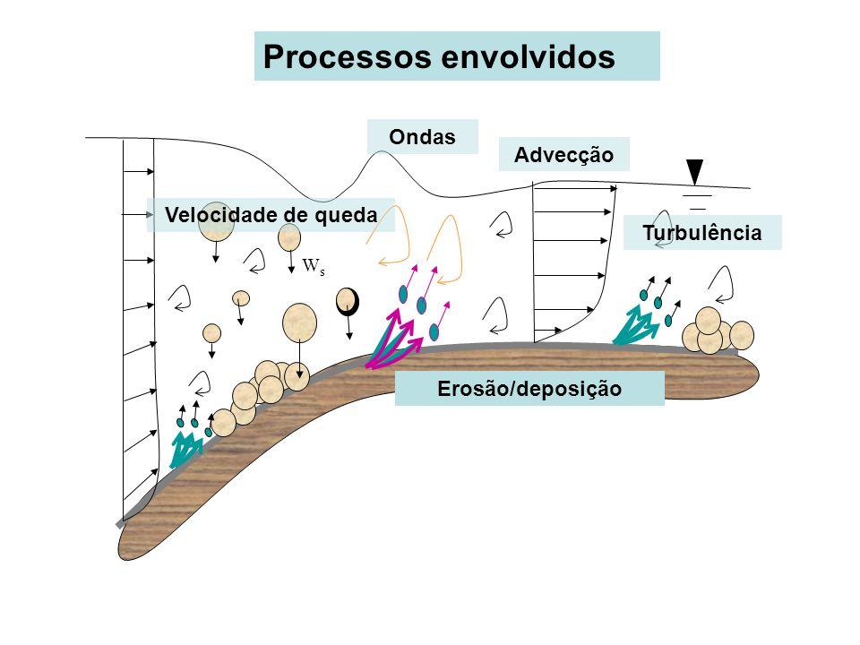 WsWs Velocidade de queda Advecção Turbulência Erosão/deposição Ondas Processos envolvidos