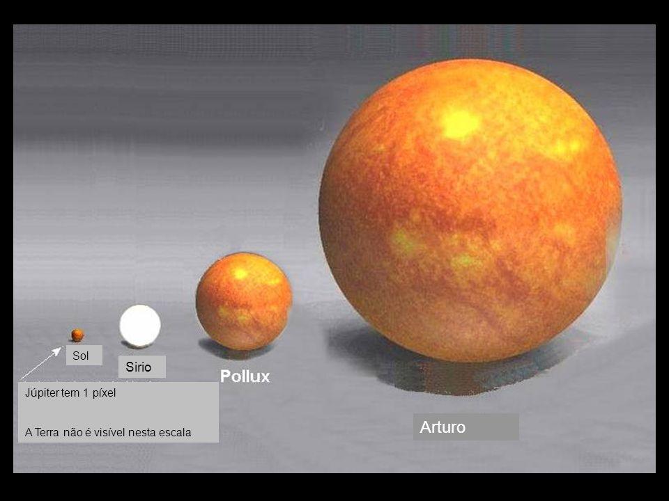Sol Sirio Arturo Júpiter tem 1 píxel A Terra não é visível nesta escala