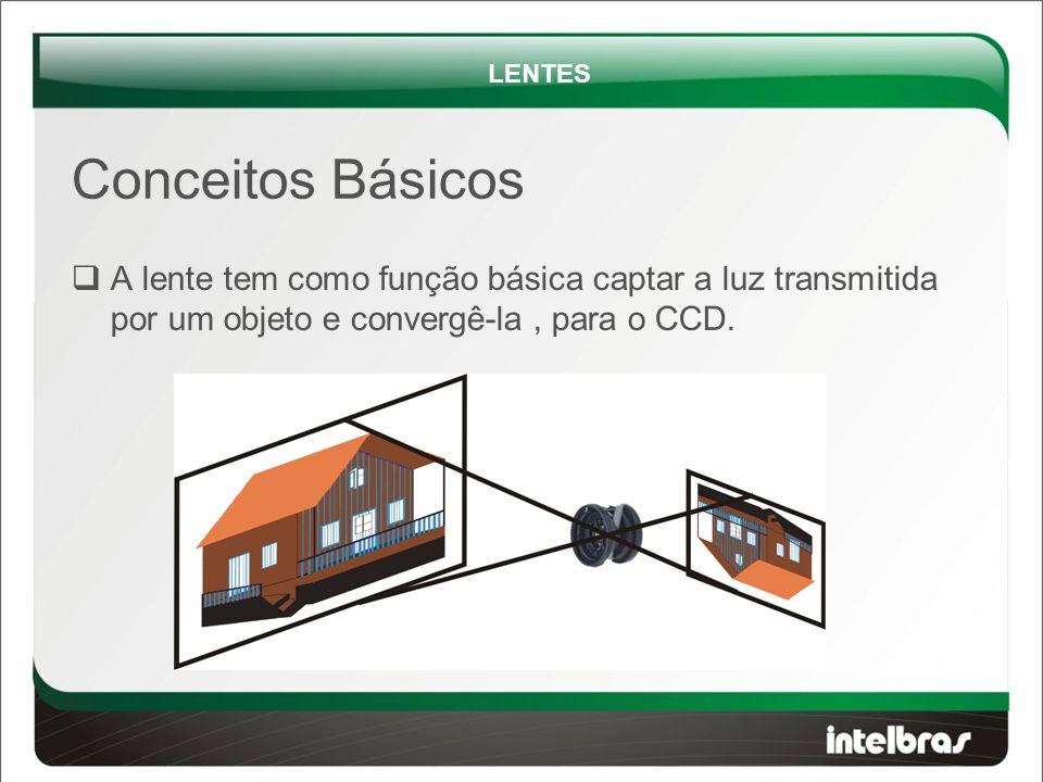  A lente tem como função básica captar a luz transmitida por um objeto e convergê-la, para o CCD.