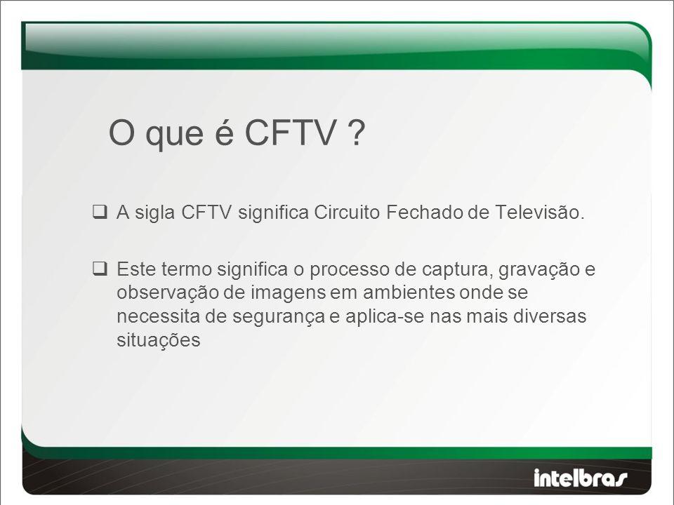 O que é CFTV . A sigla CFTV significa Circuito Fechado de Televisão.