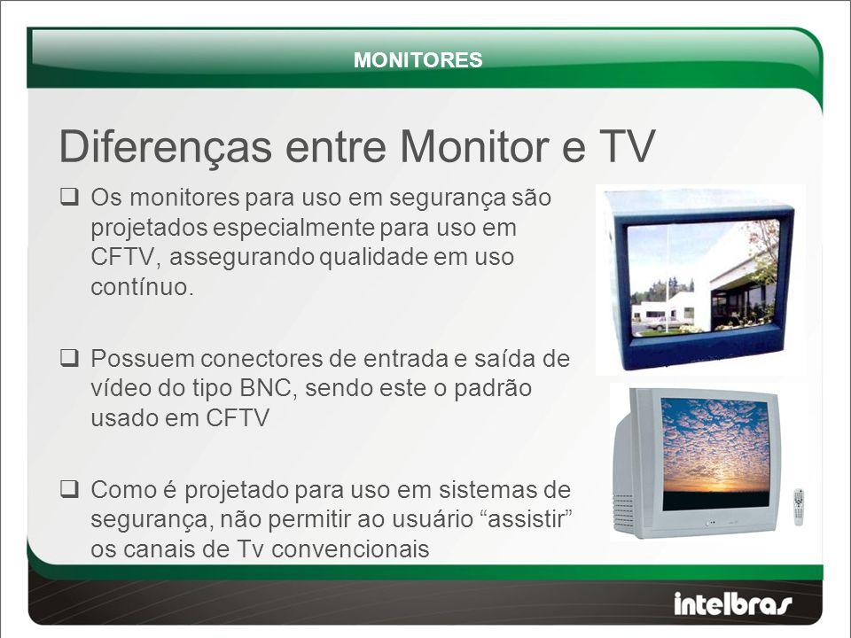 Diferenças entre Monitor e TV  Os monitores para uso em segurança são projetados especialmente para uso em CFTV, assegurando qualidade em uso contínuo.