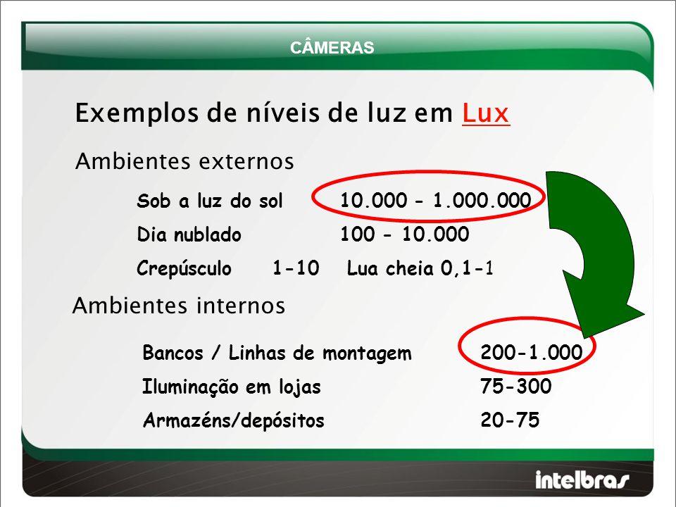 Exemplos de níveis de luz em Lux Sob a luz do sol10.000 - 1.000.000 Dia nublado 100 - 10.000 Crepúsculo 1-10 Lua cheia 0,1-1 Ambientes externos Ambientes internos Bancos / Linhas de montagem200-1.000 Iluminação em lojas 75-300 Armazéns/depósitos 20-75 CÂMERAS