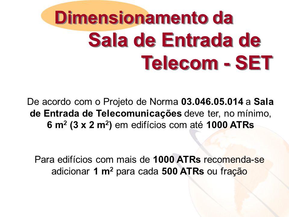 De acordo com o Projeto de Norma 03.046.05.014 a Sala de Entrada de Telecomunicações deve ter, no mínimo, 6 m 2 (3 x 2 m 2 ) em edifícios com até 1000