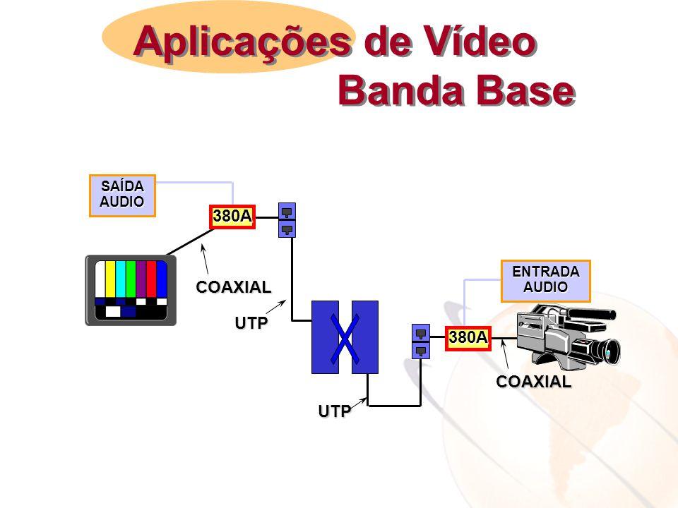 380A 380A UTP COAXIAL SAÍDAAUDIO ENTRADAAUDIO COAXIAL UTP Aplicações de Vídeo Banda Base Aplicações de Vídeo Banda Base