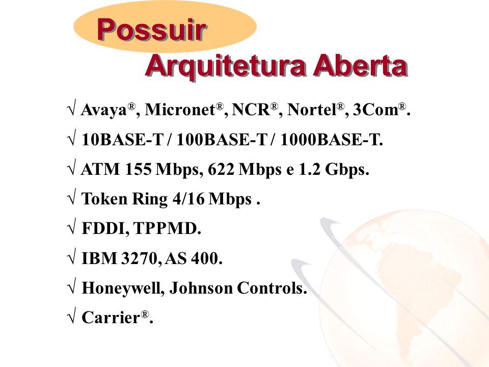  Avaya ®, Micronet ®, NCR ®, Nortel ®, 3Com ®.  10BASE-T / 100BASE-T / 1000BASE-T.  ATM 155 Mbps, 622 Mbps e 1.2 Gbps.  Token Ring 4/16 Mbps.  FD