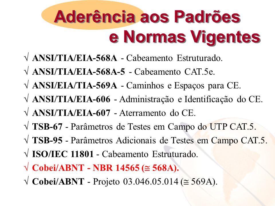  ANSI/TIA/EIA-568A - Cabeamento Estruturado.  ANSI/TIA/EIA-568A-5 - Cabeamento CAT.5e.  ANSI/EIA/TIA-569A - Caminhos e Espaços para CE.  ANSI/TIA/