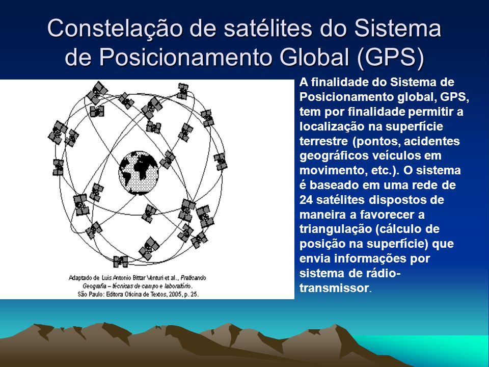 Constelação de satélites do Sistema de Posicionamento Global (GPS) A finalidade do Sistema de Posicionamento global, GPS, tem por finalidade permitir a localização na superfície terrestre (pontos, acidentes geográficos veículos em movimento, etc.).