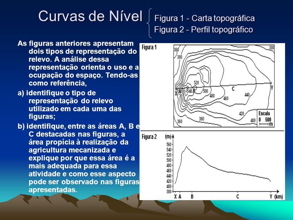 Curvas de Nível Figura 1 - Carta topográfica Figura 2 - Perfil topográfico As figuras anteriores apresentam dois tipos de representação do relevo.