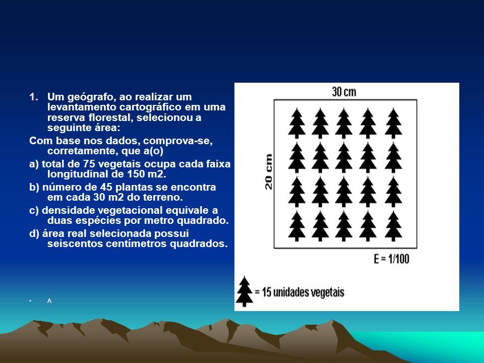 1.Um geógrafo, ao realizar um levantamento cartográfico em uma reserva florestal, selecionou a seguinte área: Com base nos dados, comprova-se, corretamente, que a(o) a) total de 75 vegetais ocupa cada faixa longitudinal de 150 m2.