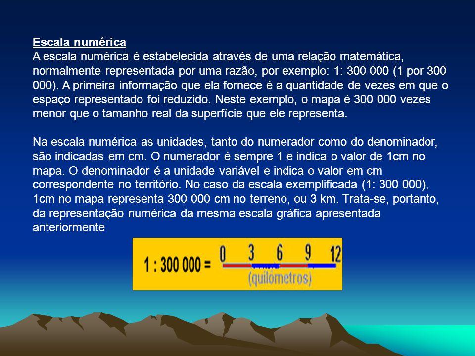 Escala numérica A escala numérica é estabelecida através de uma relação matemática, normalmente representada por uma razão, por exemplo: 1: 300 000 (1 por 300 000).