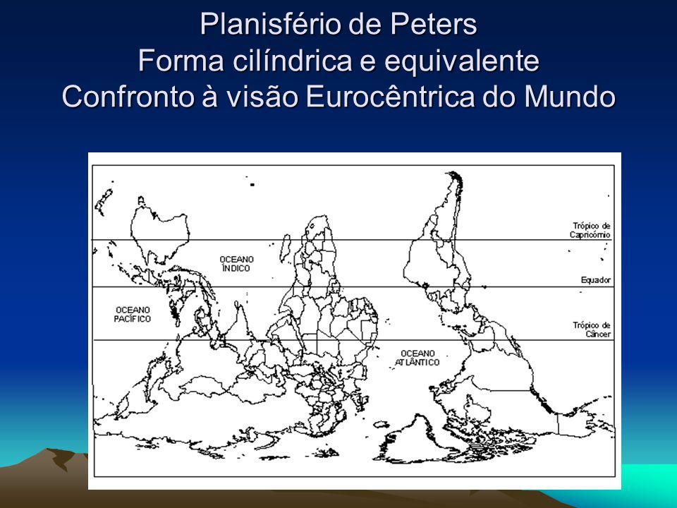 Planisfério de Peters Forma cilíndrica e equivalente Confronto à visão Eurocêntrica do Mundo
