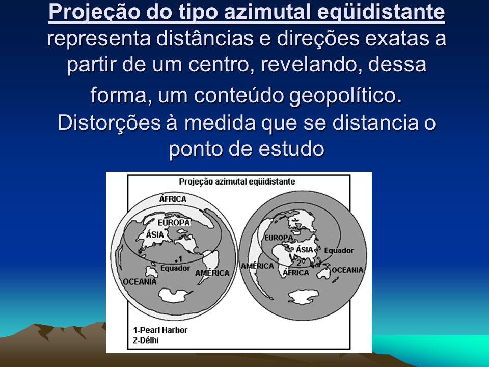 Projeção do tipo azimutal eqüidistante representa distâncias e direções exatas a partir de um centro, revelando, dessa forma, um conteúdo geopolítico.