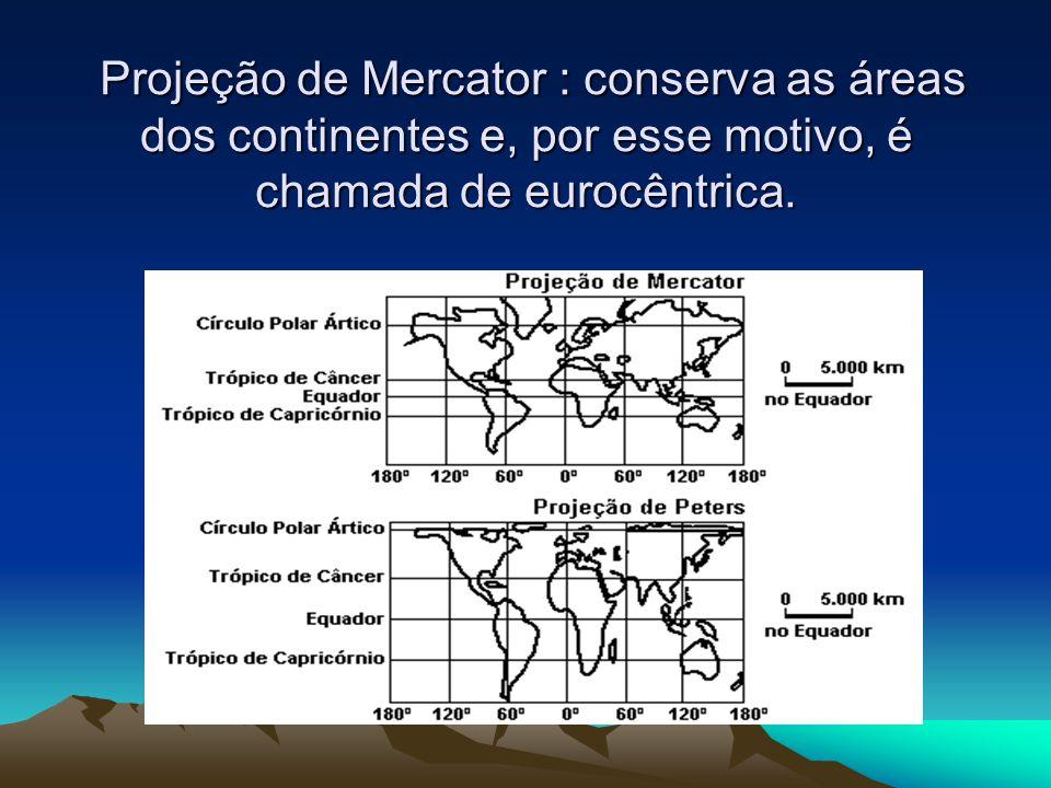 Projeção de Mercator : conserva as áreas dos continentes e, por esse motivo, é chamada de eurocêntrica. Projeção de Mercator : conserva as áreas dos c