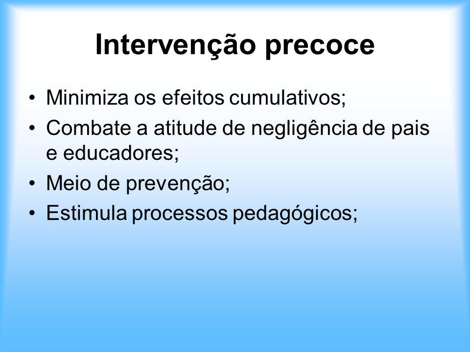 Intervenção precoce Minimiza os efeitos cumulativos; Combate a atitude de negligência de pais e educadores; Meio de prevenção; Estimula processos peda