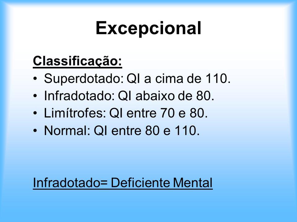 Excepcional Classificação: Superdotado: QI a cima de 110. Infradotado: QI abaixo de 80. Limítrofes: QI entre 70 e 80. Normal: QI entre 80 e 110. Infra