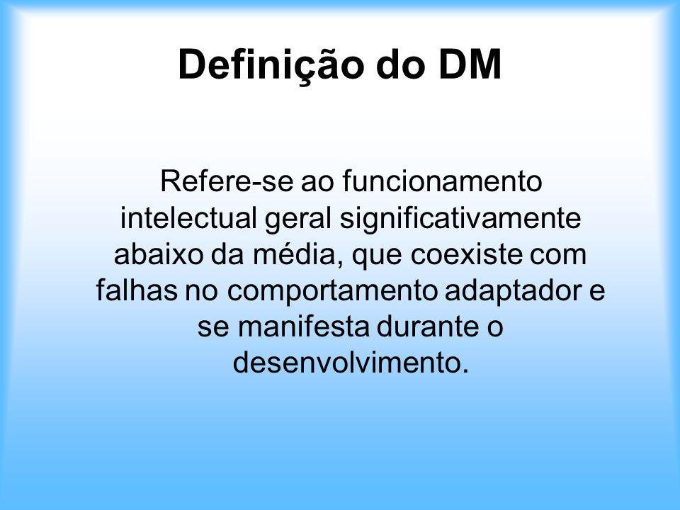 Definição do DM Refere-se ao funcionamento intelectual geral significativamente abaixo da média, que coexiste com falhas no comportamento adaptador e