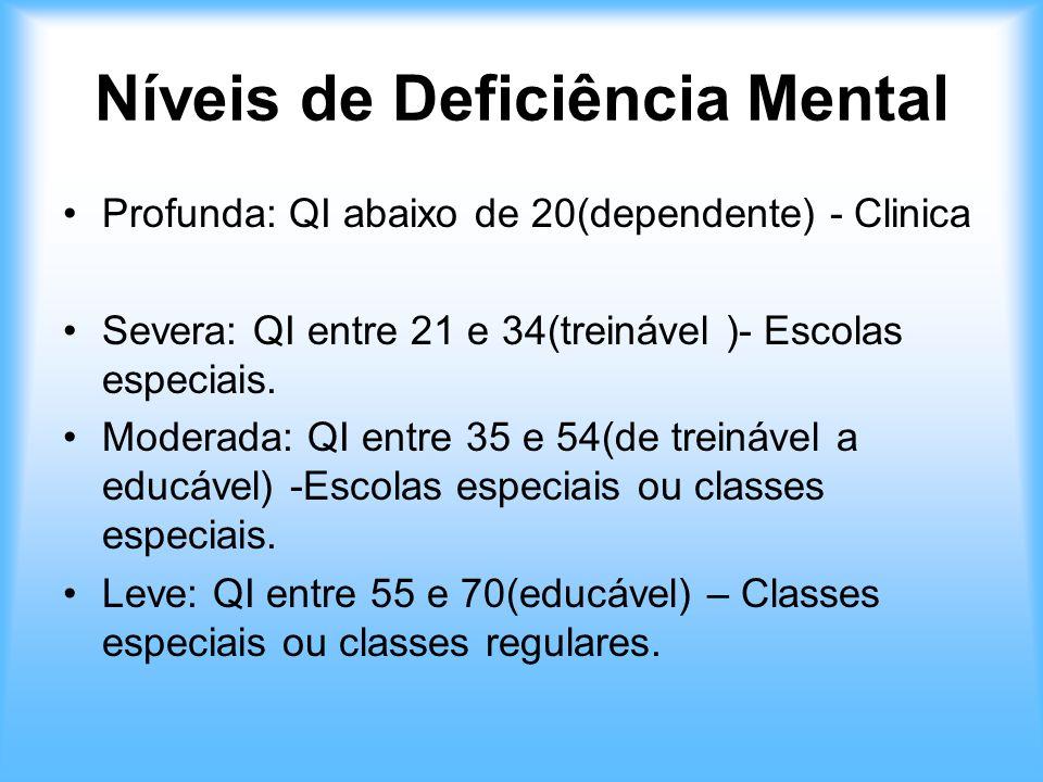 Níveis de Deficiência Mental Profunda: QI abaixo de 20(dependente) - Clinica Severa: QI entre 21 e 34(treinável )- Escolas especiais. Moderada: QI ent