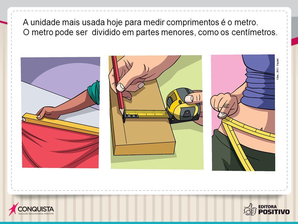 A unidade mais usada hoje para medir comprimentos é o metro.