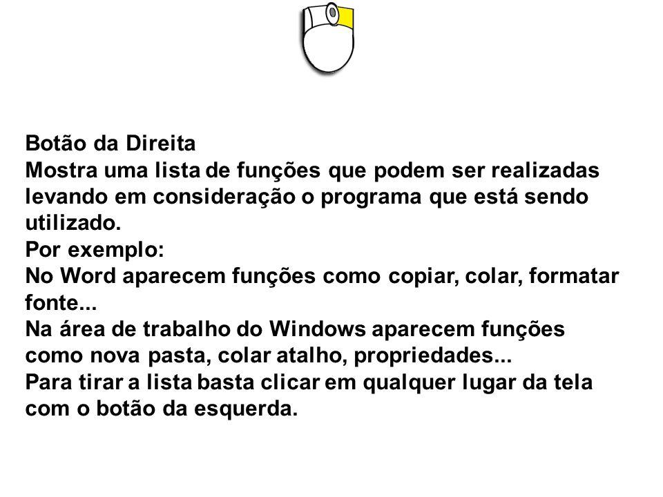 Botão da Direita Mostra uma lista de funções que podem ser realizadas levando em consideração o programa que está sendo utilizado.