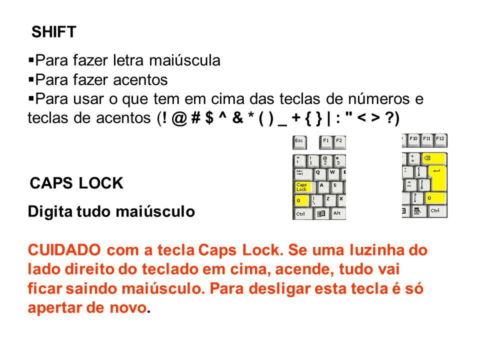  Para fazer letra maiúscula  Para fazer acentos  Para usar o que tem em cima das teclas de números e teclas de acentos (.
